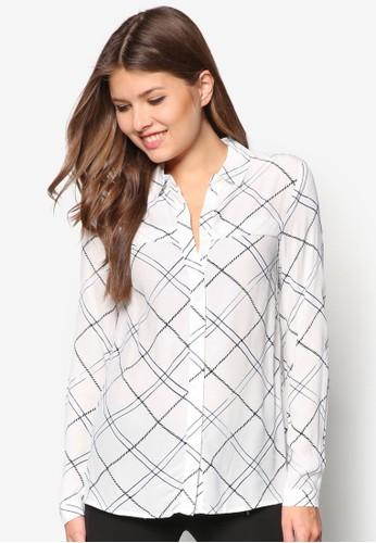 格紋長袖zalora 評價工作襯衫, 服飾, 襯衫