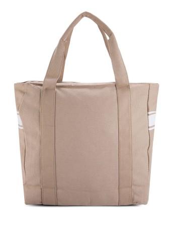 條紋zalora 評價邊飾帆布肩背包, 包, 飾品配件