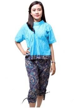 Batik Distro BA5500 Blus Celana Wanita Motif Timbul Biru