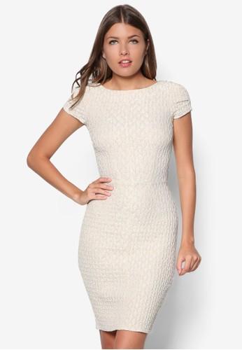 提花貼身連身zalora 評價裙, 服飾, 洋裝