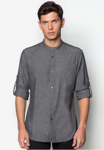 中式領亞麻長袖襯衫, 服飾, 襯zalora 評價衫