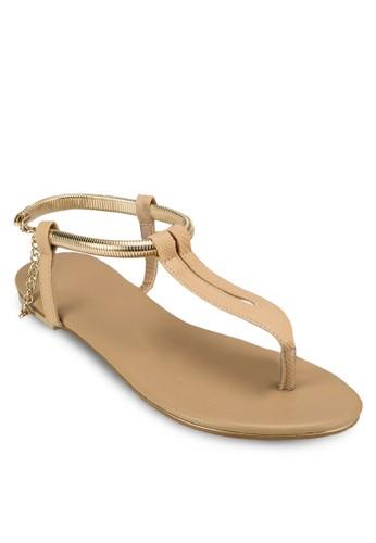 Clarity zalora鞋子評價鍊飾繞踝平底涼鞋, 女鞋, 涼鞋