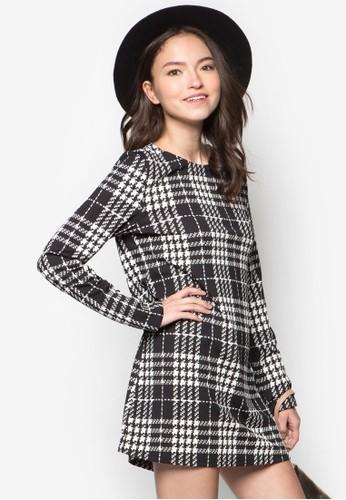 格紋zalora退貨長袖連身裙, 服飾, 洋裝