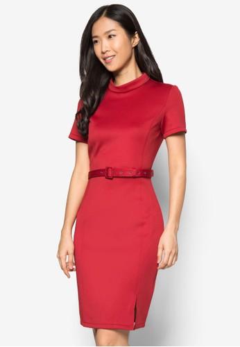 側開衩高領腰帶洋裝, zalora鞋服飾, 正式洋裝