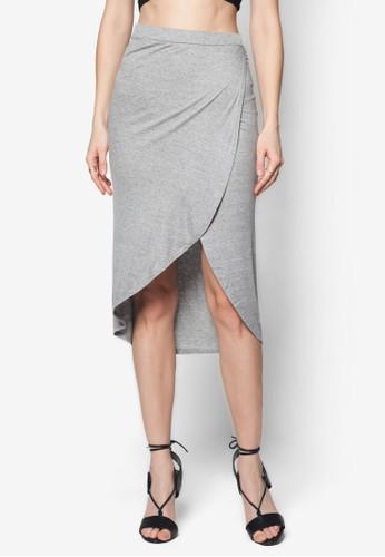 裹飾開衩羅紋及膝短裙, 服飾,zalora 台灣 及膝裙