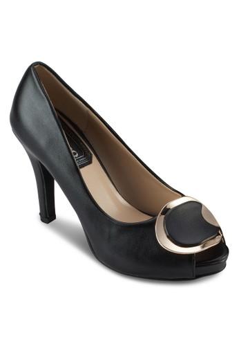 金飾魚口仿皮高跟鞋, 女鞋, 厚底高zalora 心得跟鞋