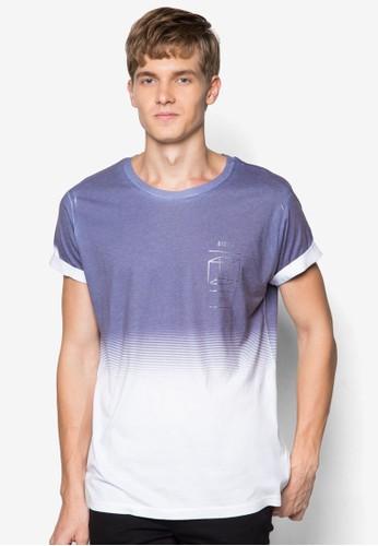 幾何圖zalora開箱形褪色T 恤, 服飾, 印圖T恤