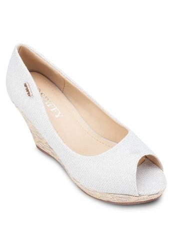 露趾zalora 心得印花楔型跟鞋, 女鞋, 魚口楔形鞋