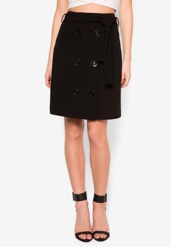 腰帶排鈕短裙, zalora 評價服飾, 裙子