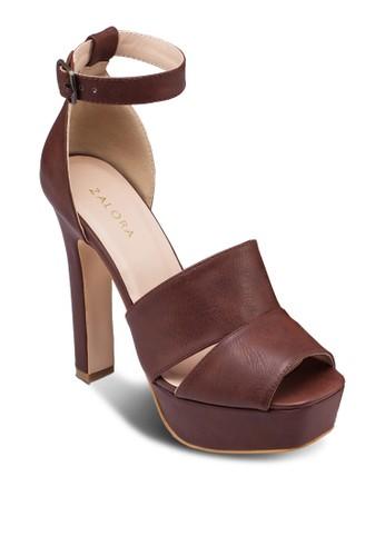 方頭露趾zalora退貨繞踝粗跟涼鞋, 女鞋, 鞋