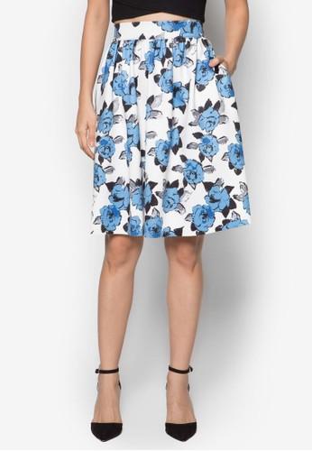 簡約傘擺印花及膝裙,zalora 心得 服飾, 服飾