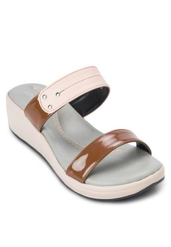 雙色寬帶厚底涼鞋, zalora鞋女鞋, 楔形涼鞋