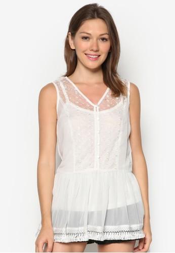 zalora退貨兩件式透膚蕾絲上衣, 服飾, 服飾