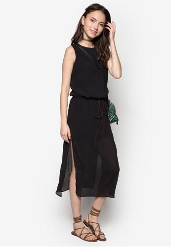 zalora開箱側開衩繫帶連身裙, 服飾, 服飾