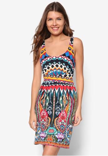 彩色圖案無袖連身裙, 服飾, 夏日洋zalora 心得裝