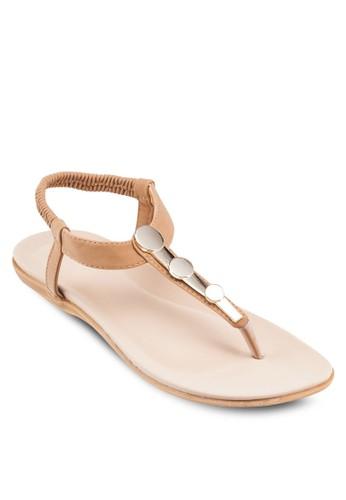 金屬飾T字帶繞踝涼鞋, zalora開箱女鞋, 鞋