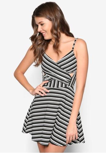 條紋zalora退貨鏤空細肩帶連身裙, 服飾, 洋裝