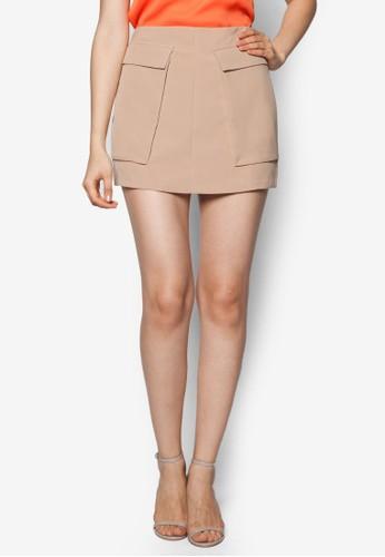 雙翻蓋口袋zalora鞋短裙, 服飾, 服飾