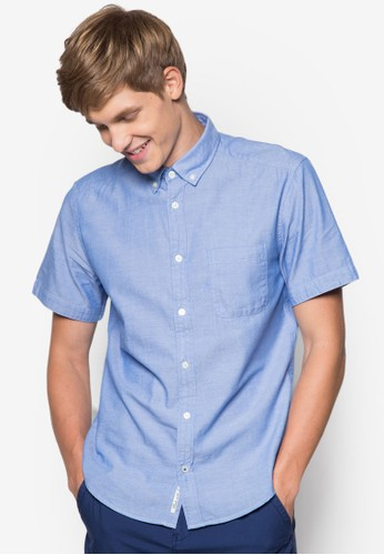 素色短袖襯zalora鞋子評價衫, 服飾, 素色襯衫