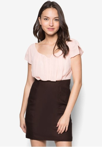 Carment 雙色時尚連身裙,zalora 評價 服飾, 短洋裝