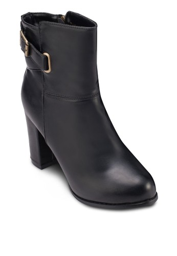 扣環仿皮粗跟zalora 評價踝靴, 女鞋, 鞋