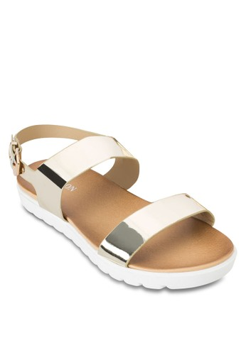 zalora 心得亮面寬帶繞踝厚底涼鞋, 女鞋, 鞋
