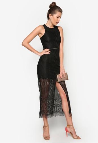 蕾絲無袖長洋裝zalora鞋子評價, 服飾, 洋裝