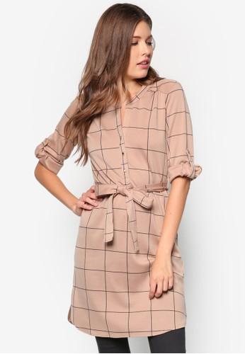Camel And Black Shirt Dress, 服飾, 正式洋zalora 台灣裝