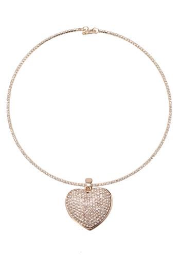 水zalora退貨鑽心形吊飾鎖骨鍊, 飾品配件, 項鍊