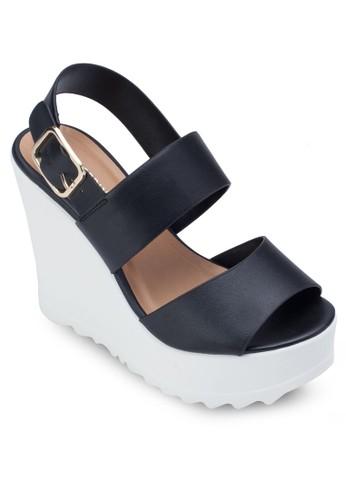 Vaywiel 亮面寬帶楔形涼鞋, 女鞋,zalora開箱 鞋