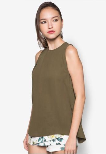 不對稱下擺無袖上衣zalora 台灣, 服飾, 服飾