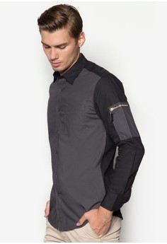 Long Sleeve Shirt With Patch on Sleeve Pocket