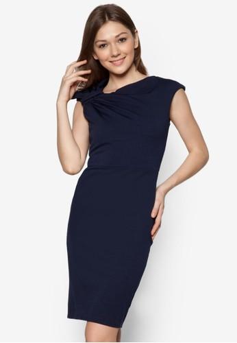 素色褶飾連身裙,zalora 台灣 服飾, 正式洋裝