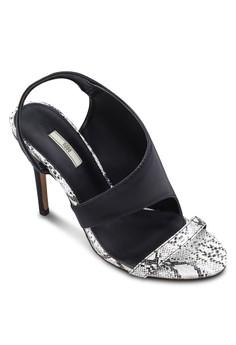 仿蛇紋印花高跟涼鞋