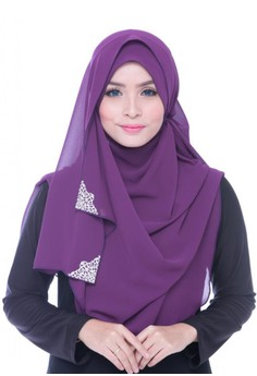 Ms.Husna Hijab Wide shawl Rania with 2 sides Dokoh Deep Purple – Click image to See Catalog