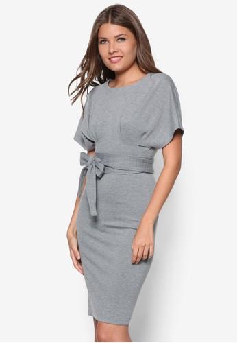 繫帶zalora 台灣寬袖貼身洋裝, 服飾, 洋裝