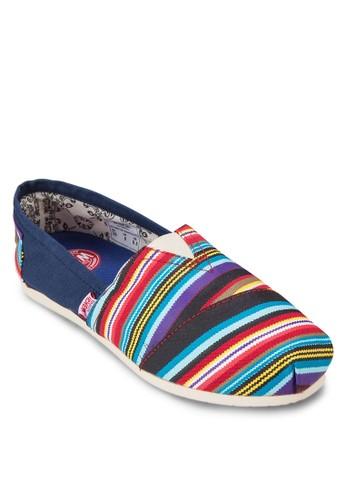 Serape 撞色條紋zalora 台灣懶人鞋, 女鞋, 休閒鞋