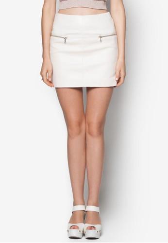 仿皮拉鍊迷你短裙, 服zalora開箱飾, 服飾