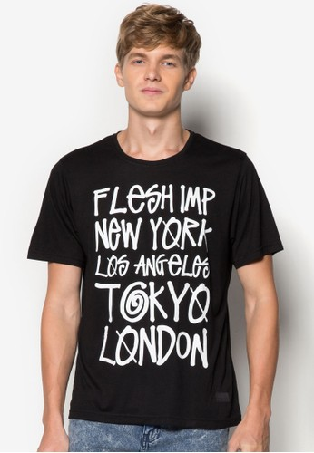 都市文字zalora退貨設計TEE, 服飾, 印圖T恤