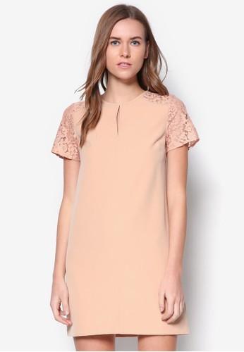 蕾絲拼肩直筒洋裝, 服飾, zalora 鞋評價服飾