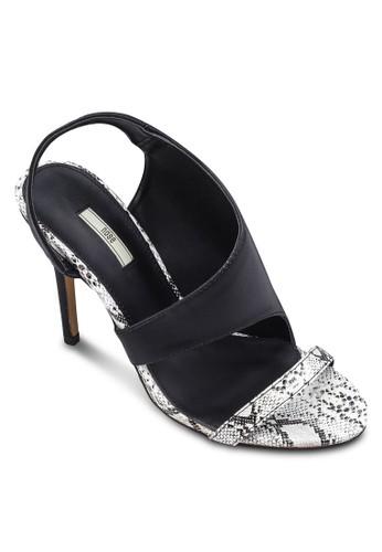 仿蛇紋zalora 鞋評價印花高跟涼鞋, 女鞋, 鞋