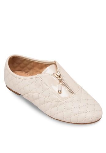菱格拉鍊平底zalora開箱鞋, 女鞋, 鞋