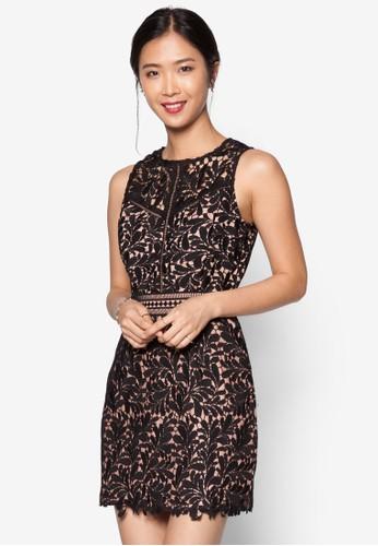 ZALORA Lace Pieced Sheath Dress