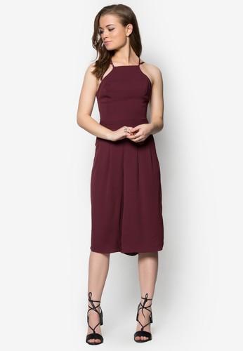 交叉肩帶寬管連身褲zalora鞋, 服飾, 洋裝