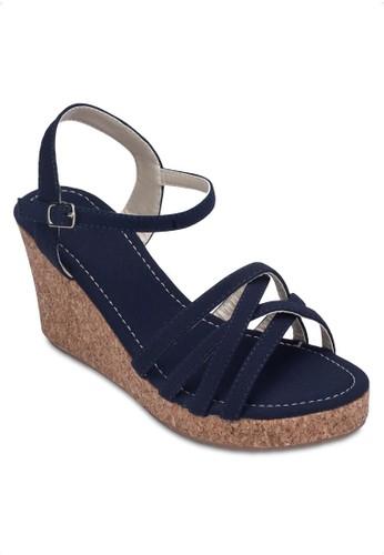 交叉多帶楔型跟zalora 鞋評價鞋, 女鞋, 楔形涼鞋