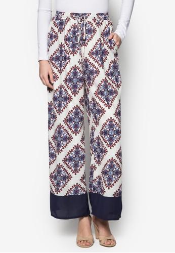 印花繫帶闊管長褲, 服飾,zalora 台灣 服飾