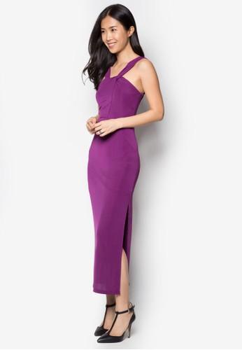 Soiree 扭結雙帶長洋裝, 服飾,zalora 鞋評價 長洋裝