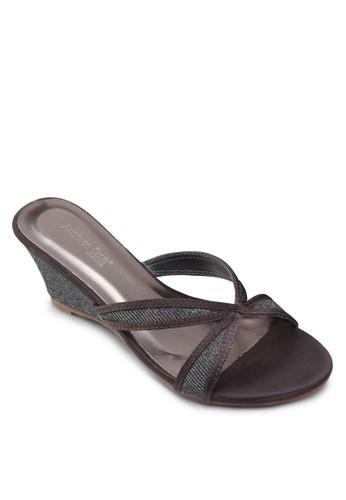 閃飾交叉帶楔形涼鞋, 女zalora 評價鞋, 楔形涼鞋