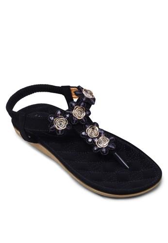 花卉T 字帶繞踝涼鞋, 女鞋zalora鞋子評價, 鞋