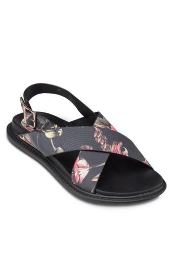 印花交叉帶繞踝涼鞋, 女zalora開箱鞋, 鞋